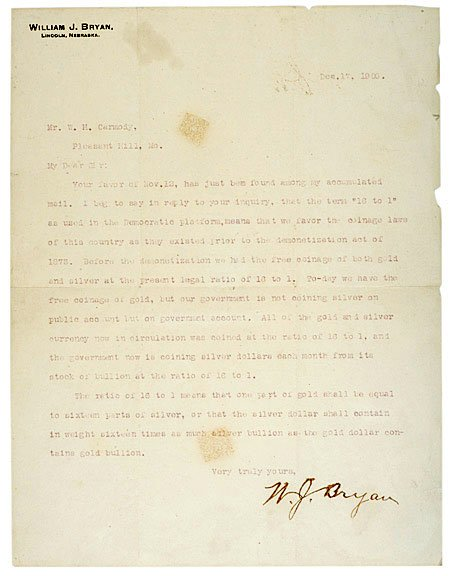 18: 1900 William Jennings Bryan Letter Signed