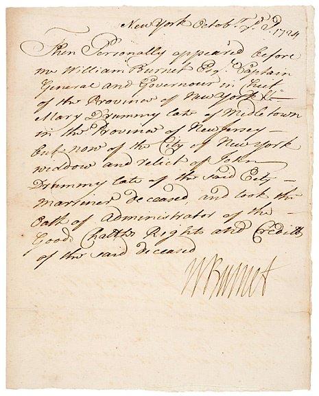 21: WILLIAM BURNET Signed Document 1724