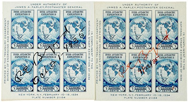 22: RICHARD E. BYRD Signed Commemorative Stamp Sheet
