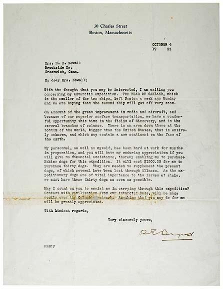 23: RICHARD E. BYRD Signed Letter, 1933