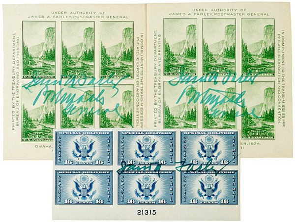 65: JAMES A. FARLEY, Commemorative Stamps Signed