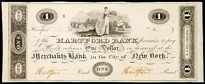 934: Obsolete Currency, CT, Hartford Bank, $1, Proof
