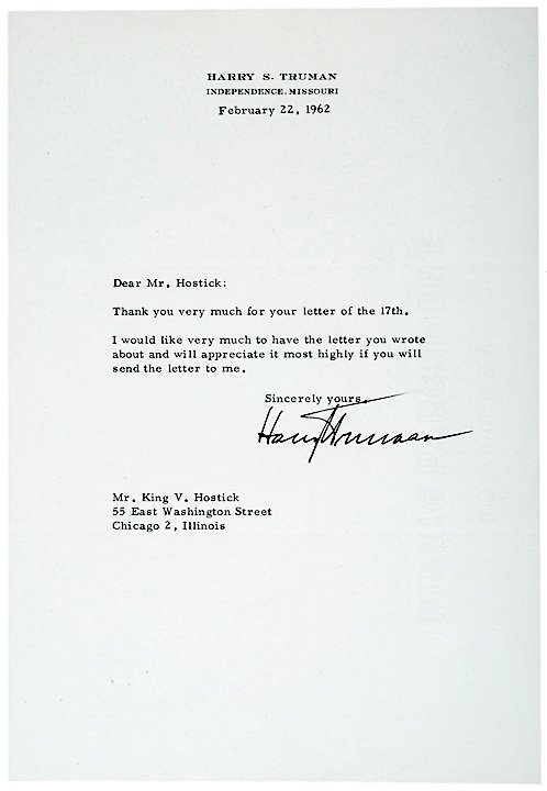 4001: HARRY TRUMAN Typed Letter Signed 1962