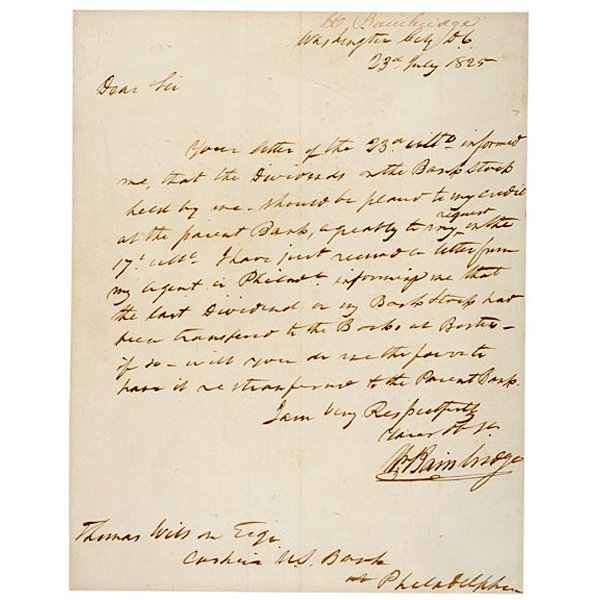5006: WILLIAM BAINBRIDGE Signed Letter