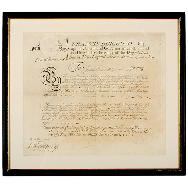 5007: FRANCIS BERNARD, Military Commission Signed, 1761