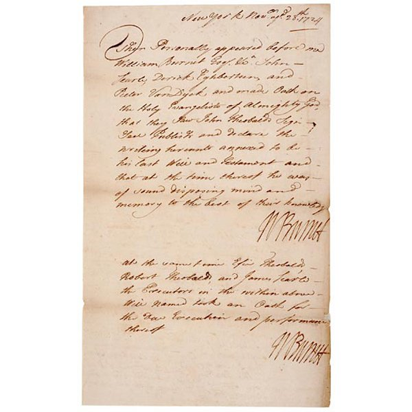 5008: WILLIAM BURNET Signed Document from 1724