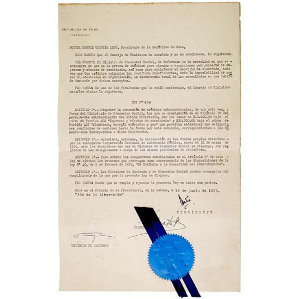 5009: FIDEL CASTRO, Document Signed, 1959, Habana Cuba