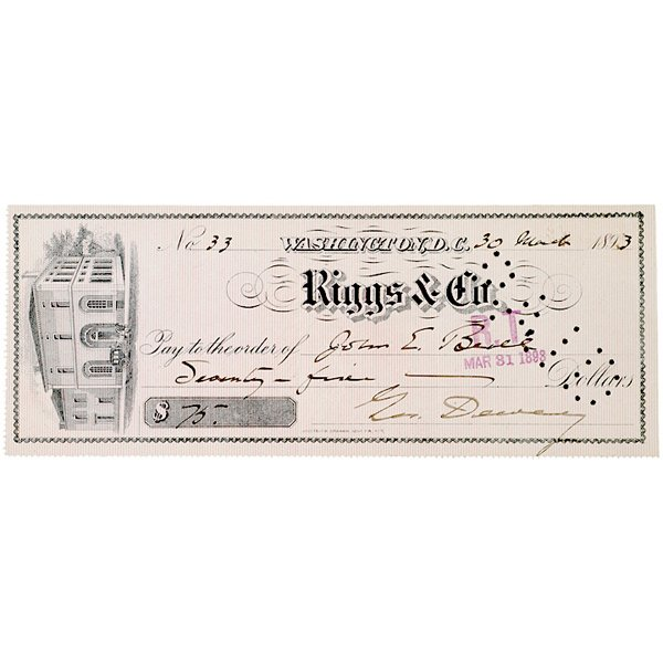 5013: Check Signed by GEORGE DEWEY, 1893