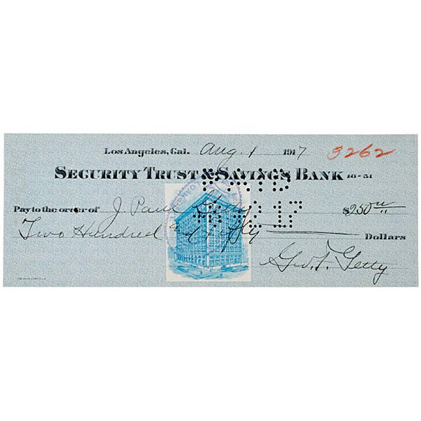 5015: J. PAUL GETTY Signed Check 1917