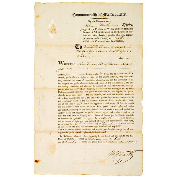 5016: General WILLIAM HEATH Signed Broadside 1807