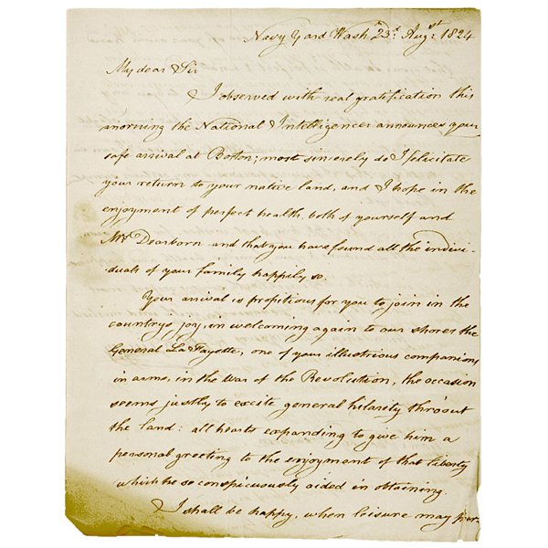 5020: 1824 Letter about LAFAYETTE returning to U.S.