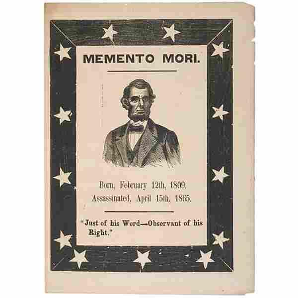 LINCOLN, c.1865 MEMENTO MORI Memorial Broadside