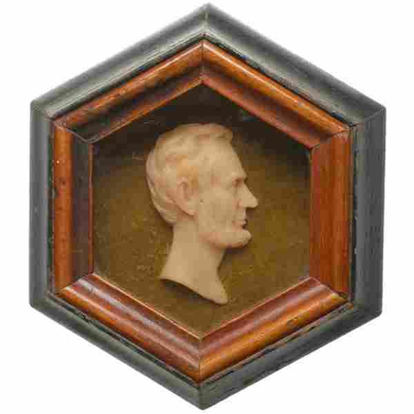 c. 1865, Abraham Lincoln Wax Relief Profile
