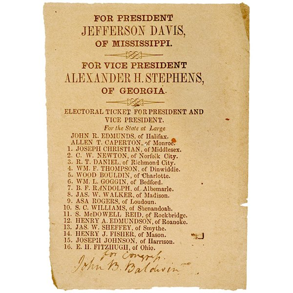 5167: Davis + Stephens Confederate Electoral Ticket