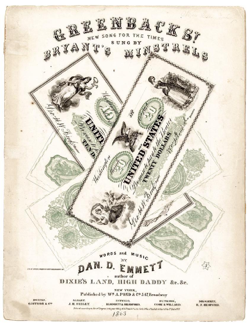 1863 Civil War Printed GREENBACKS! Sheet Music