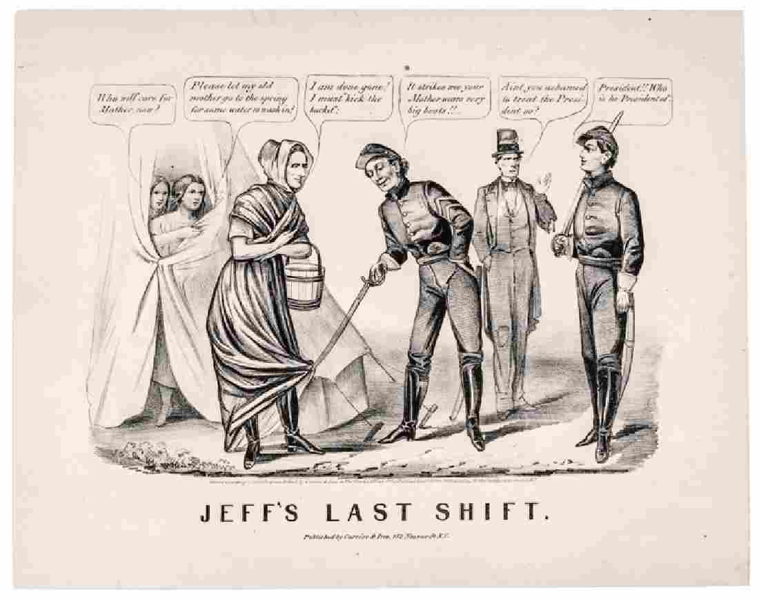 1865 Currier & Ives Print of - Jeff's Last Shift