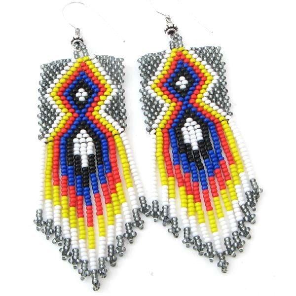 Handmade Beaded Grey Blue Seed Bead Earrings