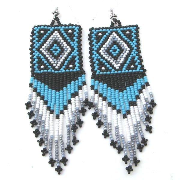 Handmade Beaded Blue Black Seed Bead Earrings