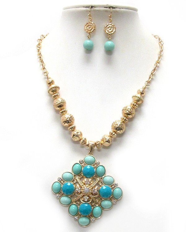 Turquoise / Mint Color Necklace & Dangle Earrings