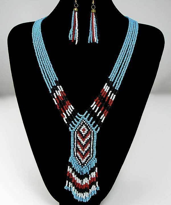 Turquoise Color Bead Necklace & Dangle Earrings