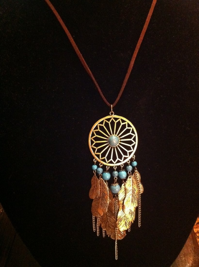 Feather Necklace with Turquoise Color Accents