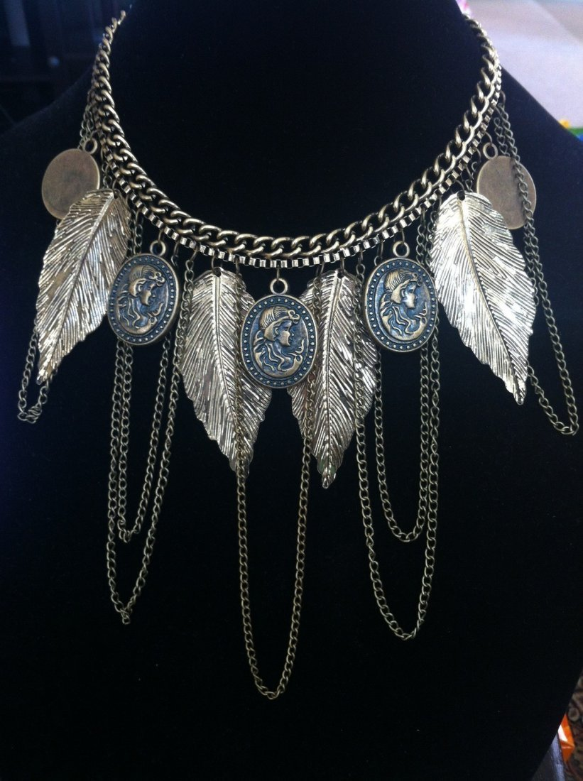 Feather Necklace w/ Cameo Pendants