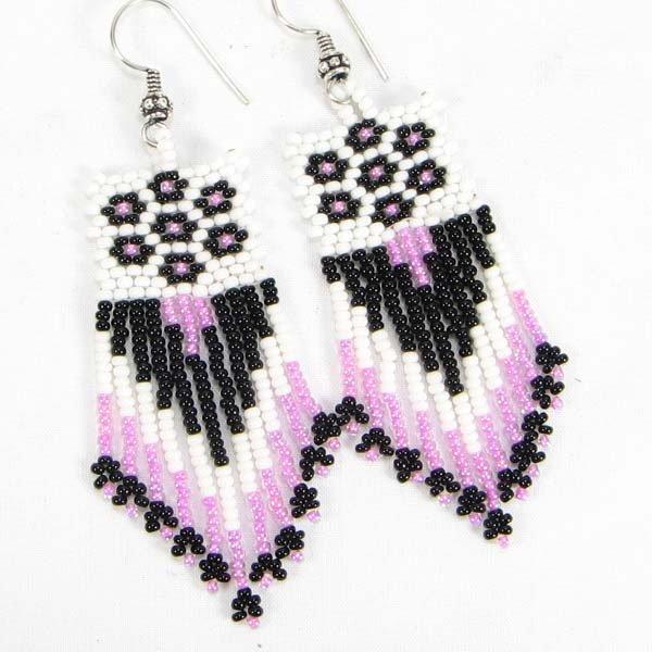 Handmade beaded Black Pink Seed Bead Earrings
