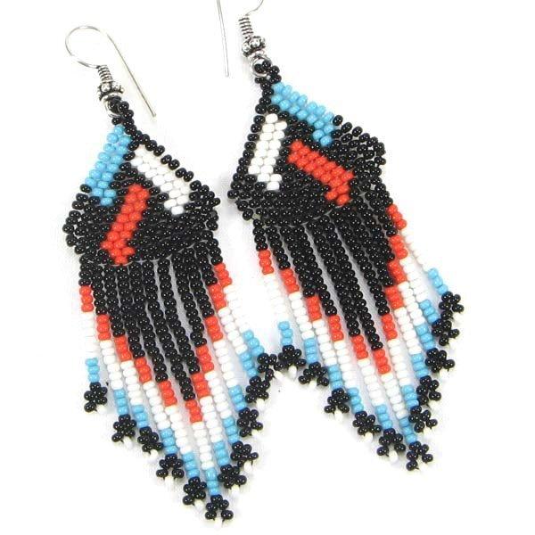 Handmade beaded Black Seed Bead Earrings
