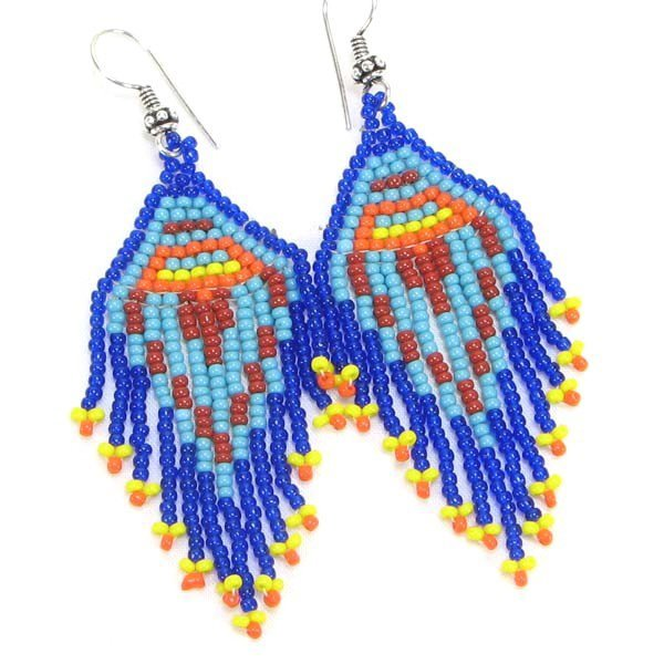 Handmade Beaded Blue Seed Bead Earrings