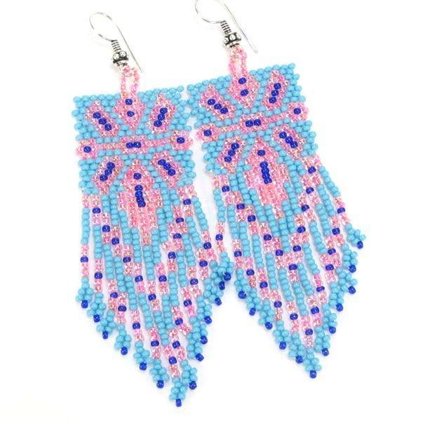 Handmade Beaded Turquoise Blue Seed Bead Earrings
