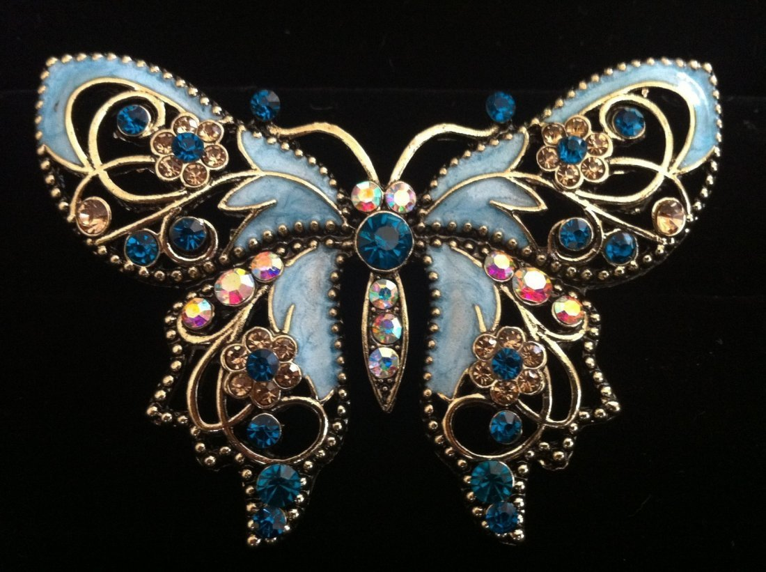 Butterfly Brooch with Rhinestones