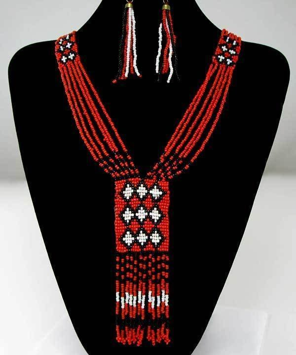 Red / Coral Color Bead Necklace and Earrings