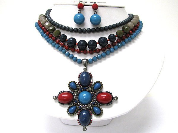 Pendant Necklace with Turquoise Color Accents