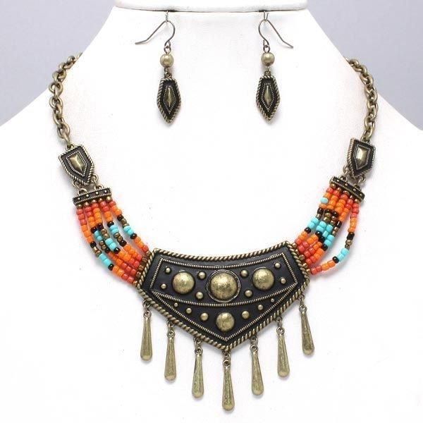 Bead Necklace & Dangle Earrings