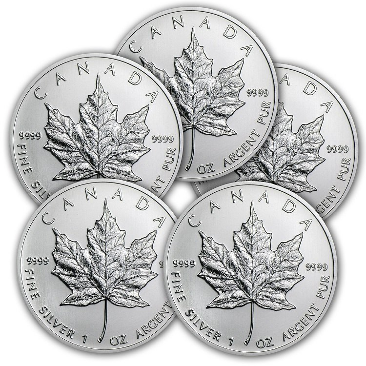 Lot of (5) 2013 1 oz Silver Canadian Maple Leafs
