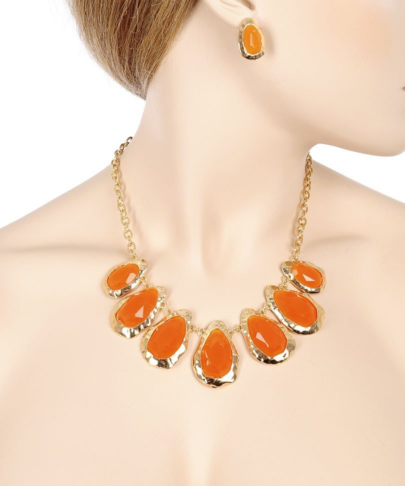 GOLD ORANGE FACETED COLORED STONES NECKLACE & EARRING
