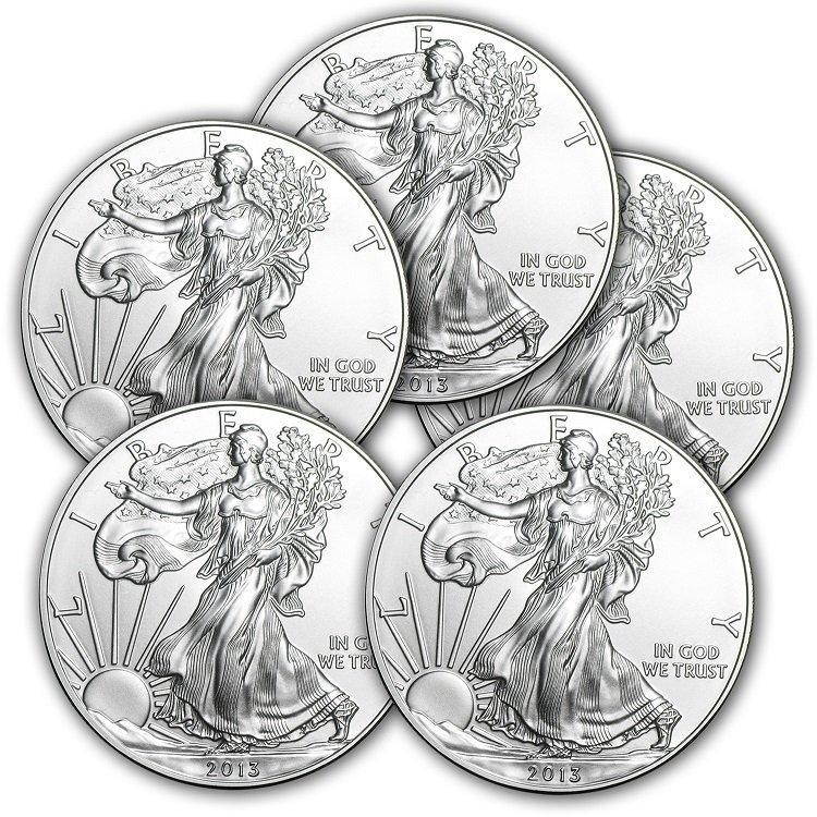 Lot of (5) 2013 1 oz Silver American Eagles