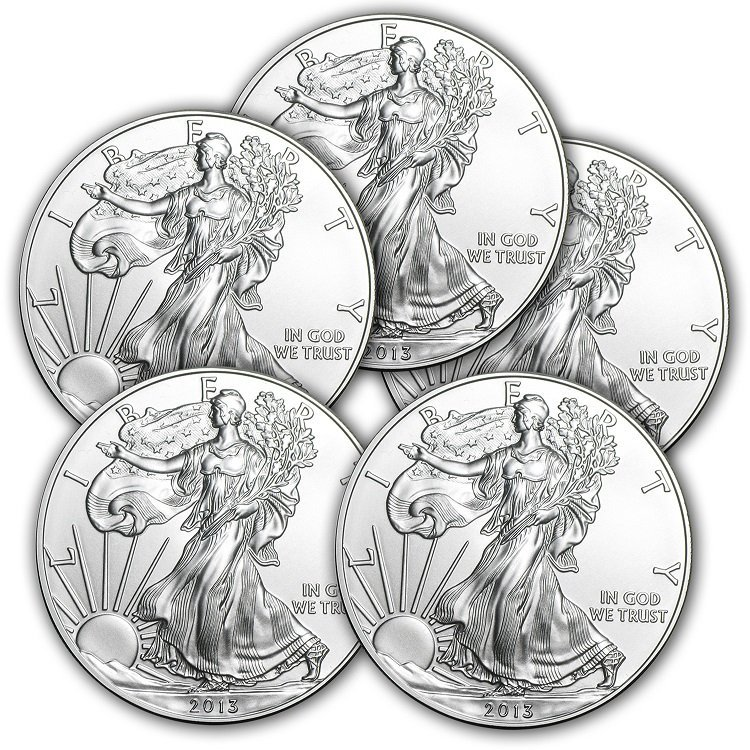 Lot of (5) 2013 1 oz Silver American Eagles