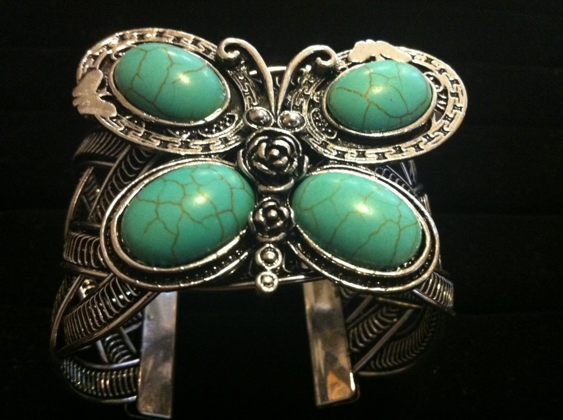 Turquoise Color Butterfly Cuff Bracelet