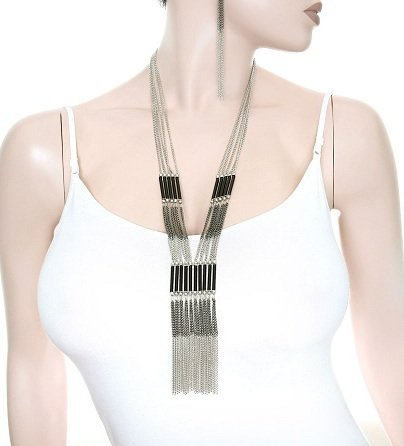Squash Blossom Style Chain Necklace & Earring Set