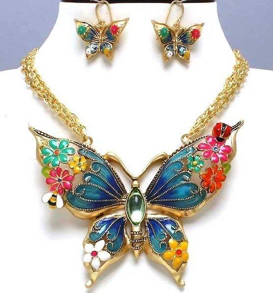 Butterfly Necklace & Dangle Earrings