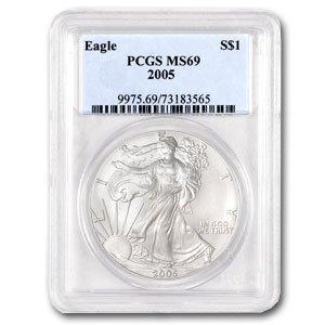 2005 1 oz Silver American Eagle Coin - MS-69 PCGS