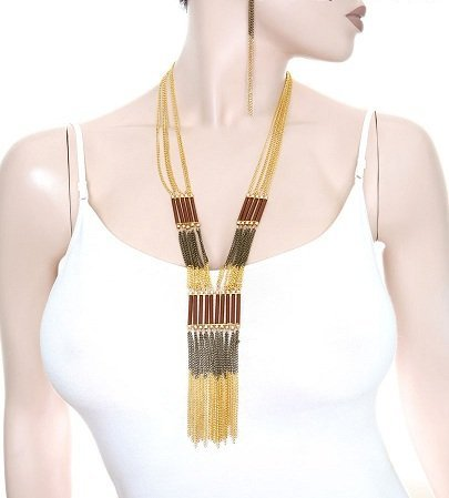 BROWN GOLD MULTI LINE CHAIN NECKLACE & EARRING SET