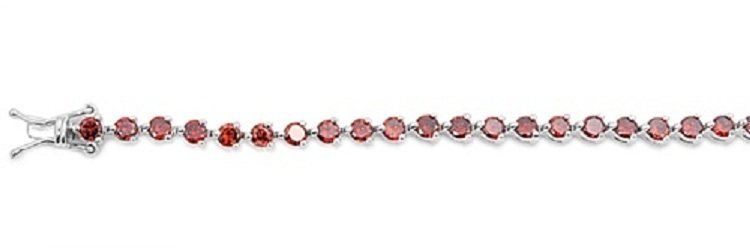 Sterling Silver Bracelet w/ Garnet Stones