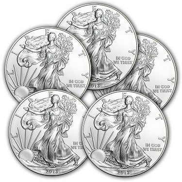 (Lot of 5) 2013 1 oz Silver American Eagle