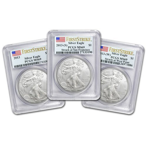 (3 Coin Set) 2013 1 oz Silver American Eagle - MS-69