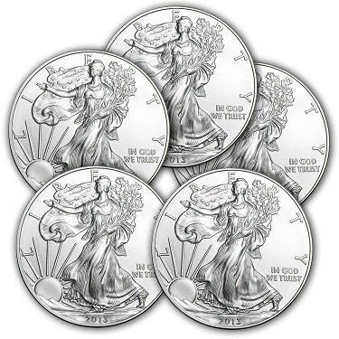 (Lot of 5) 2013 1 oz Silver American Eagle