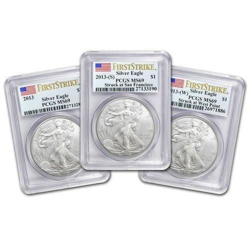 (3 Coin Set) 2013 1 oz Silver American Eagle - MS-69