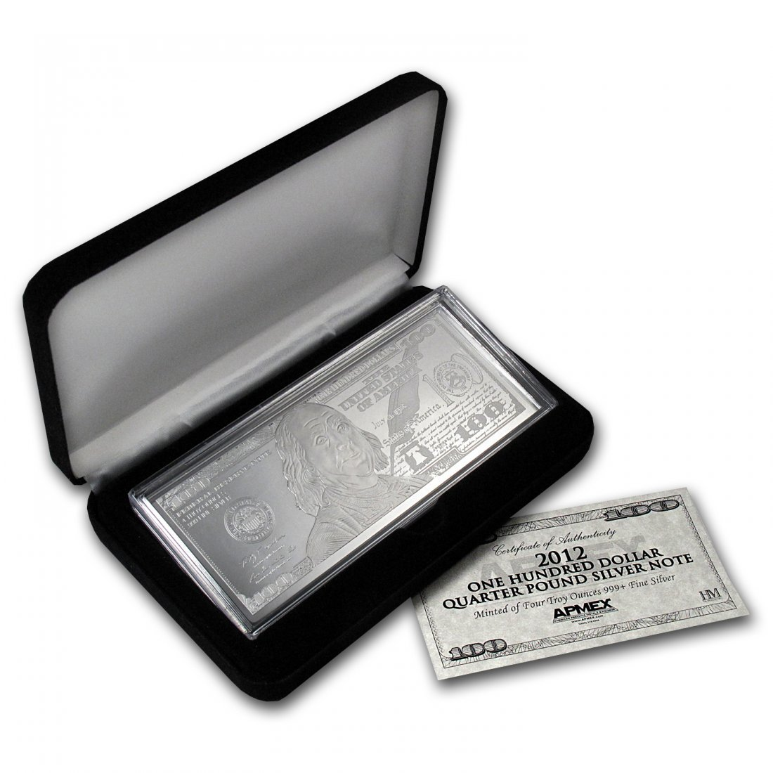 2012 4 oz $100 Bill Silver Bar - with Box and