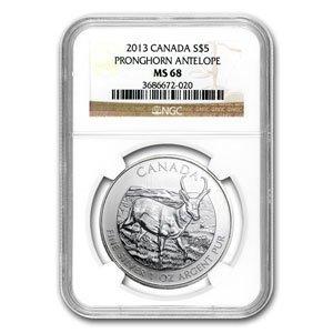 2013 1 oz Silver Canadian Wildlife Series - Antelope